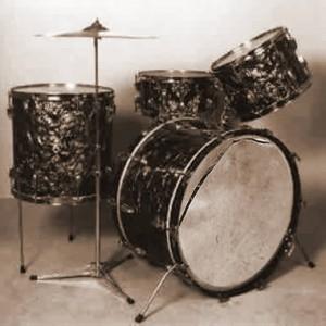 Image of a battered drum kit