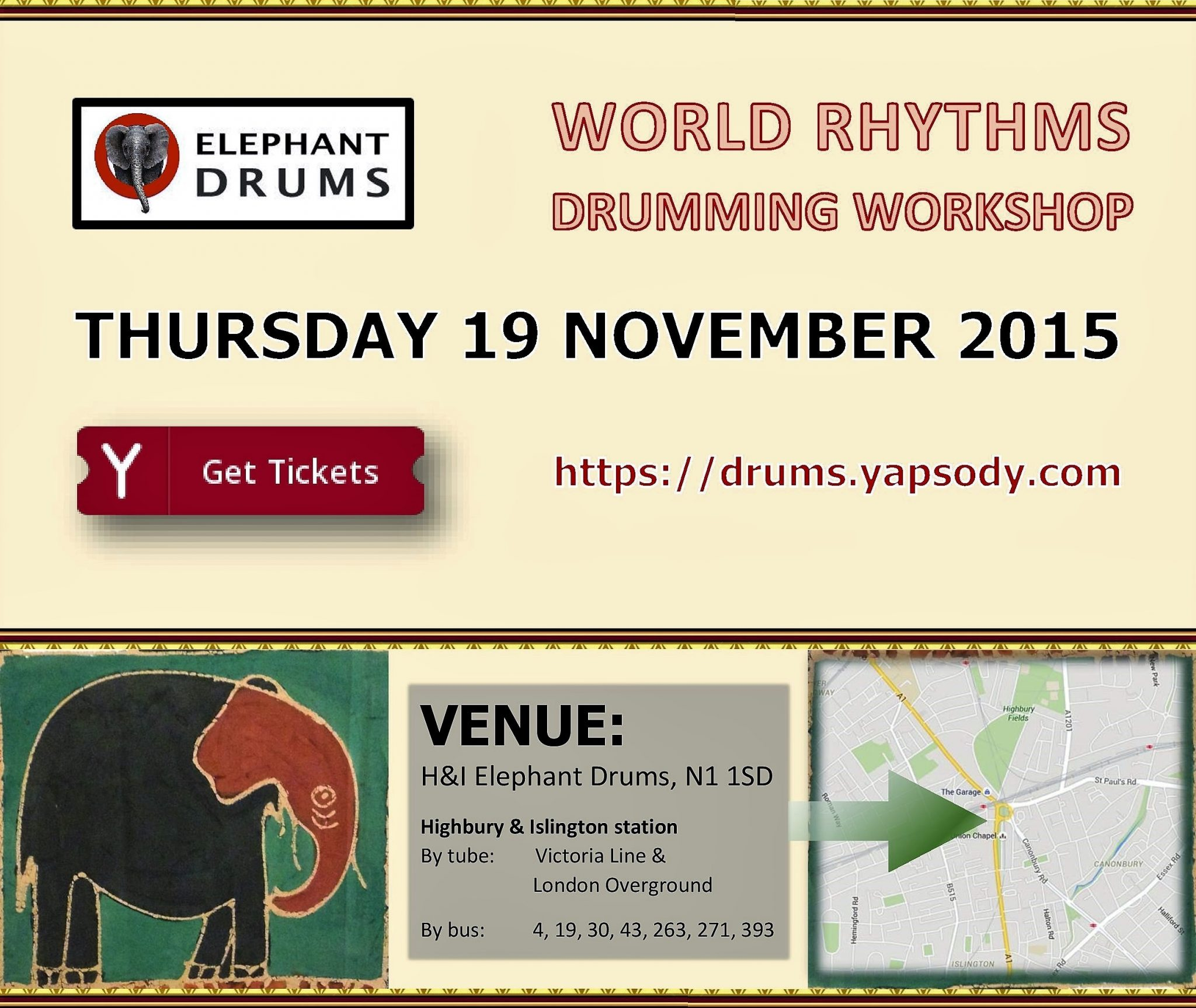Elephant Drums workshop Thursday 19 November 2015