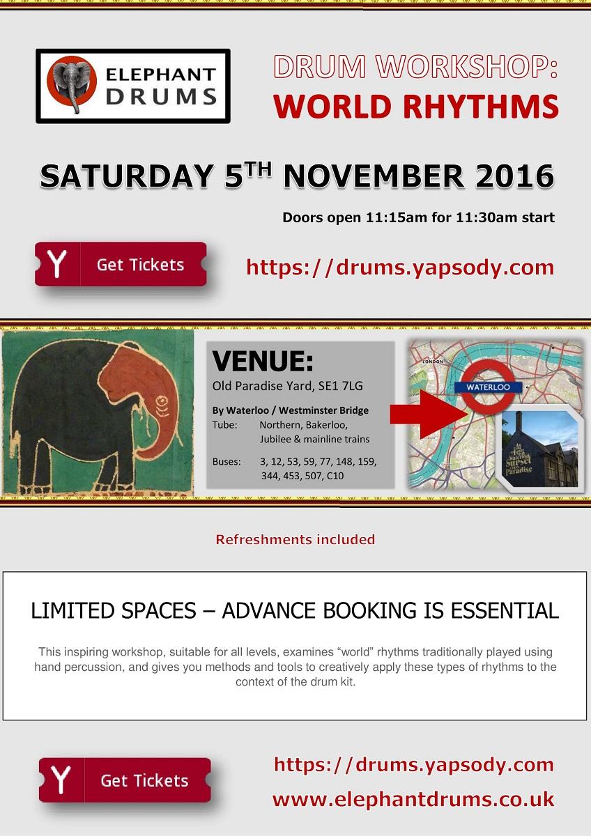 Elephant Drums workshop Thursday 19 November 2015